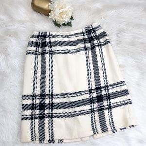 Talbots Ivory Wool Plaid Pencil Skirt Sz 6 ::DD10